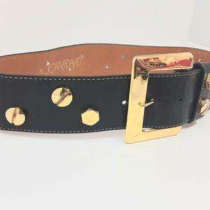 Joan & David Vintage Calf Leather Bolt Screw Belt